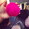 Зеркальный силиконовый чехол с Розовым помпоном для  iPhone 7 Серебристый infinity, фото 4