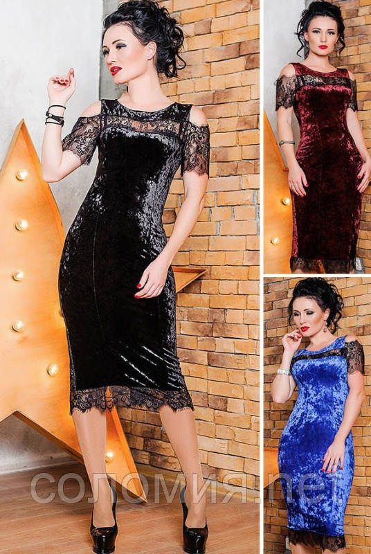 Нарядное женское платье  из мраморного велюра   42-56р