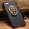 Чехол со львом и кольцом под кожу питона для iPhone 6/6S Черный infinity, фото 2