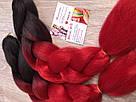 🖤 Канекалон чёрный-красный, косы для впелетения в волосы, разнообразные причёски 🖤, фото 5