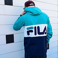 Демисезонная куртка в стиле Fila синяя с мятным