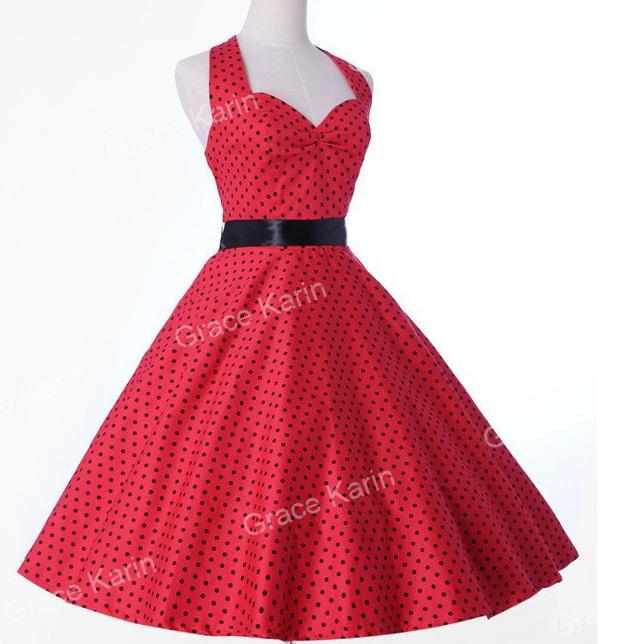 f16ba577697 Ретро платье в мелкий горошек от Grace Karin - интернет магазин Eli-stor в  Бердянске
