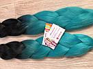 🖤 💙Канекалон омбре чёрный-бирюза, пряди для впелетения в волосы, разнообразные волосы 🖤💙, фото 6