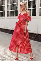 Летнее платье на тонких бретельках в горошек красное