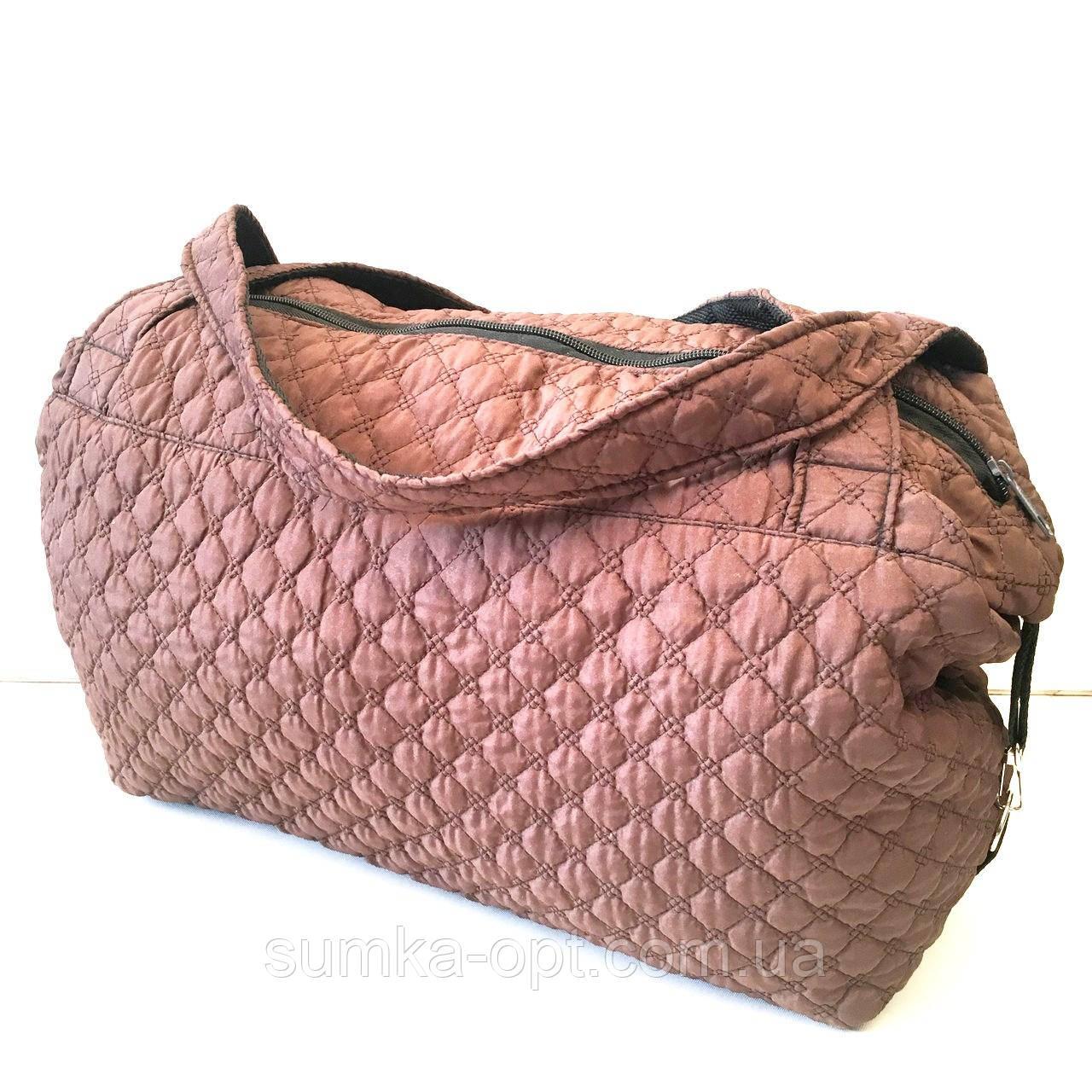 Женские стеганные сумки дешево опт до 100грн (коричневый)24*39см
