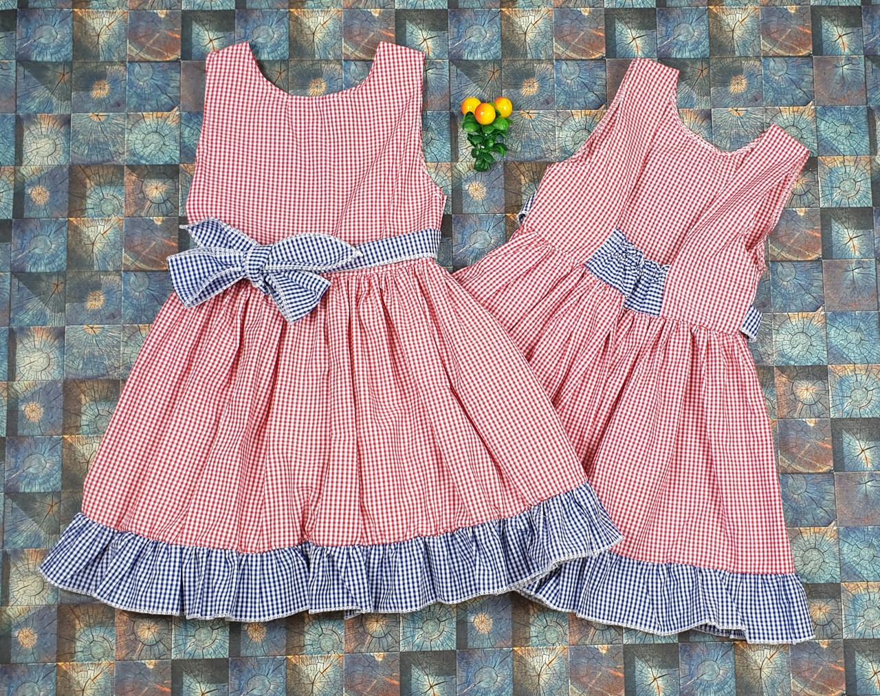 Летнее платье в клеточку  для девочки Ева р.104-122 красный+ синий