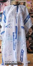 Пеньюар для стрижки, ножиці, білий з блакитним написом