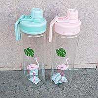 Бутылка для воды с поилкой Фламинго 950 мл (розовый и голубой)