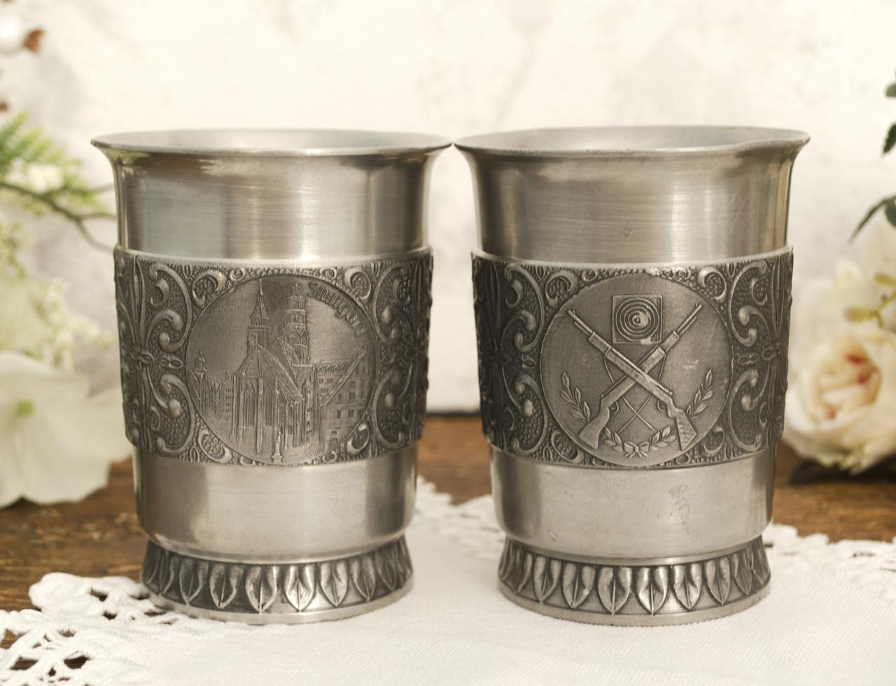 Два оловянных бокала, пищевое олово, Германия, 250 мл