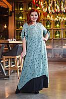 Воздушное женское летнее батальное платье макси