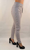 Джинсы женские стрейч с жемчужинами по наружному шву S - XXL, фото 3
