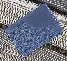 Обложка для паспорта Цветок синий 9.5*13.5см Гранд Презент 01-11С