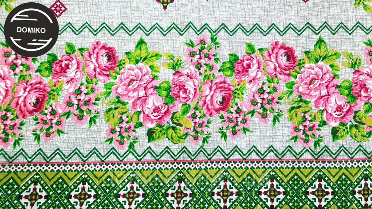 Скатерть кухонная лен Квітуче поле 220*150 см Domiko