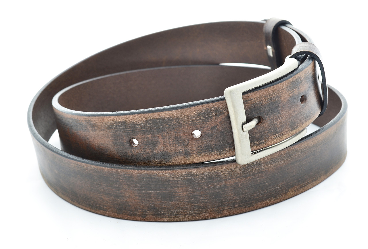 """Ремень ручной работы, коричневый с потертостью, итальянская пряжка металик, тм """"Barracudas"""" Bs019"""