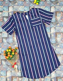 Детское платье в полоску  для девочки.116-134, темно-синий