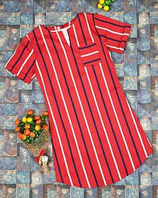 Детское платье в полоску  для девочки.116-134, красный