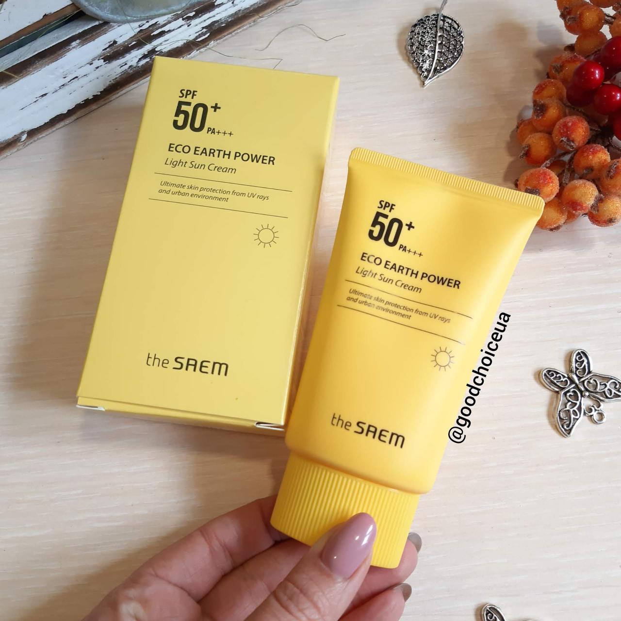 Легкий солнцезащитный крем The Saem Eco Earth Power Light Sun Cream SPF50+ PA+++