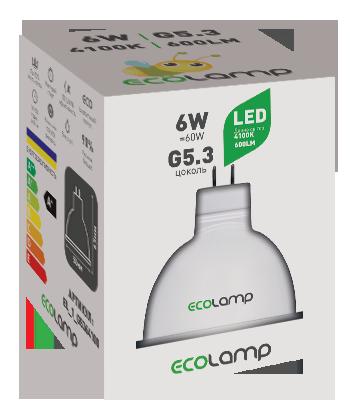 """Світлодіодна лампа MR16 G5.3  6W 4100K, TM""""ECOLAMP"""""""