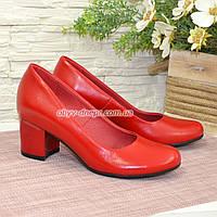 Женские красные кожаные туфли на невысоком устойчивом каблуке, фото 1