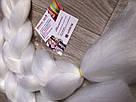 💗 Канекалон однотонный белый, пряди цветные искуссвенных волос для кос 💗, фото 4