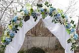 Искусственная гирлянда из миксованных цветов (голубой и зеленый), фото 2