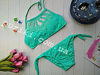 Раздельный пляжный купальник зеленого цвета для девочки 28-36р