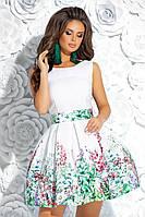 bb9d9d5d97960ed Коктейльное короткое платье с пышной юбкой и цветочным принтом (M, L)