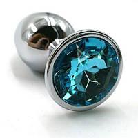 Анальная пробка с кристаллом металлическая голубая S