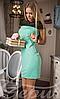 Короткое приталенное женское платье с коротким рукавом на молнии сзади микродайвинг