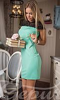 Короткое приталенное женское платье с коротким рукавом на молнии сзади микродайвинг , фото 1