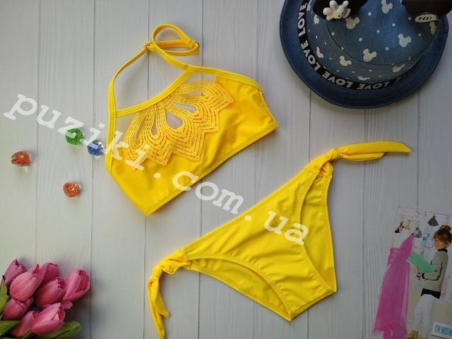 Детский раздельный желтый купальник изображение