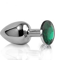 Анальная пробка с кристаллом металлическая зеленая S