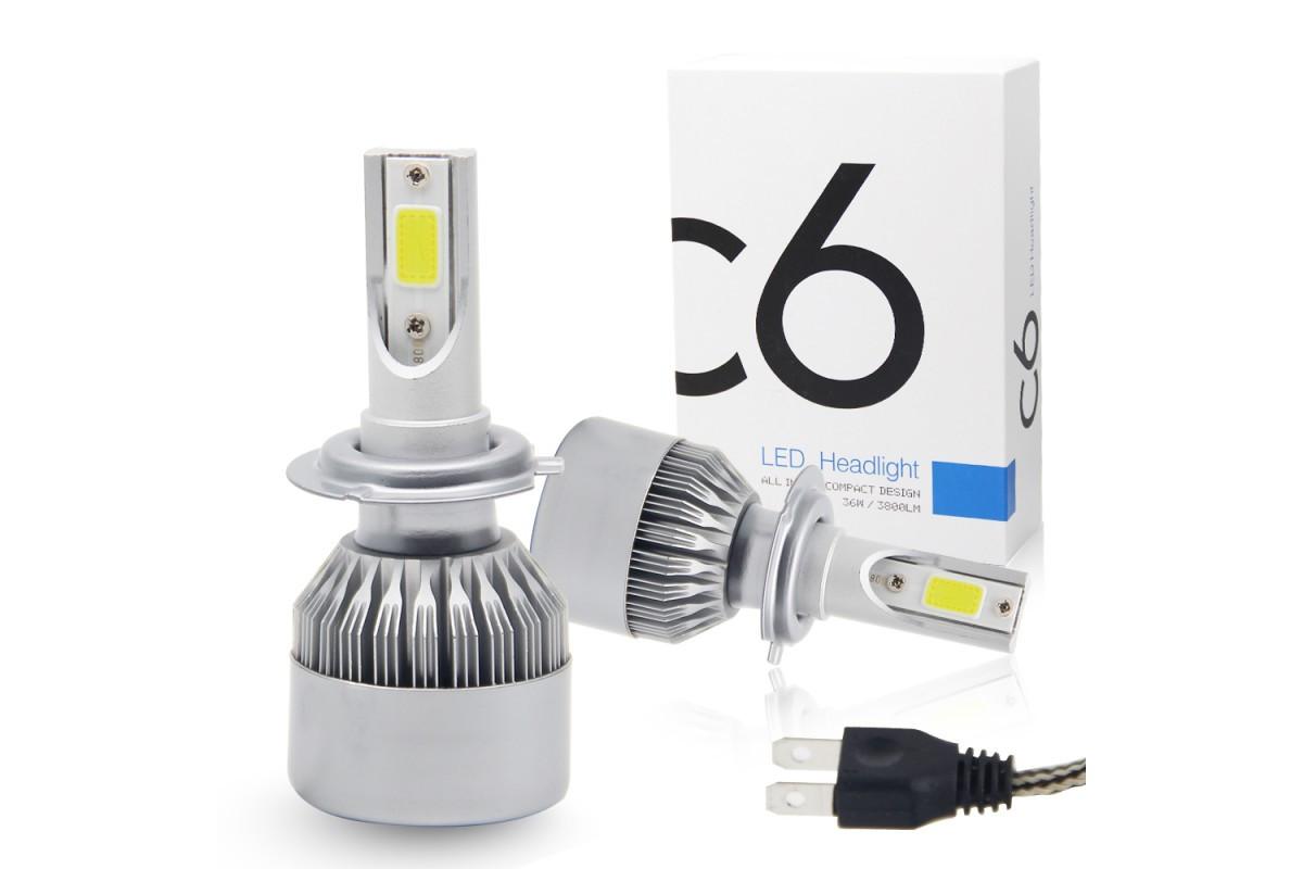 Автомобильные светодиодные LED лампы в фары C6 H7 3800lm 6000K