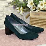 Замшевые туфли на устойчивом каблуке из натуральной замши зелёного цвета, фото 5