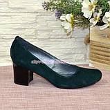 Замшевые туфли на устойчивом каблуке из натуральной замши зелёного цвета, фото 6
