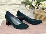 Замшевые туфли на устойчивом каблуке из натуральной замши зелёного цвета, фото 8