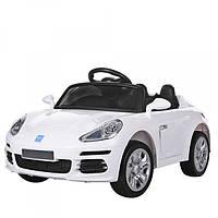 Электромобиль детский Porsche с кожаным сиденьем и EVA колесами, BAMBI M 3446 EBLR-1 белый