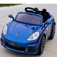 Электромобиль детский Porsche с кожаным сиденьем и EVA колесами, BAMBI M 3446 EBLRS-4 синий автопокраска