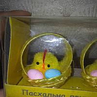 Пасхальный декор - сувенирный набор 2шт из цыплят  в корзине с яйцами