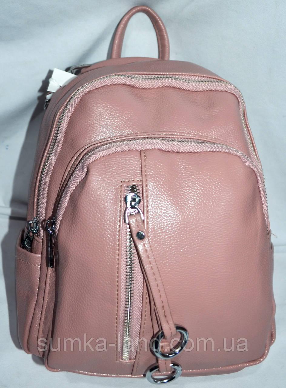 a72185b67d4c Женский розовый рюкзак - сумка с дополнительным карманом с переди с  хлястиком 21*27см