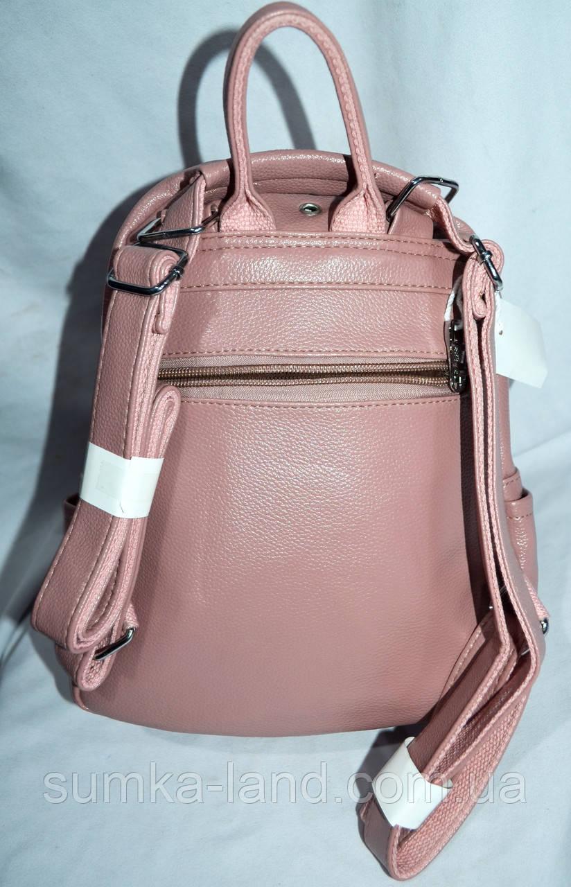 1ba1b00c547c ... Женский розовый рюкзак - сумка с дополнительным карманом с переди с  хлястиком 21*27см,