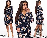 Яркое женское платье в цветочек с асимметричный подолом с 48 по 58 размер, фото 1