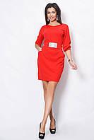 Нарядное женское платье красное до колен с поясом и стразами