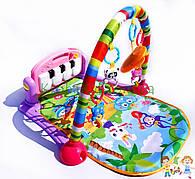 Детский развивающий музыкальный коврик с пианино и дугой с подвесками НЕ 0603 - НЕ 0604  розовый