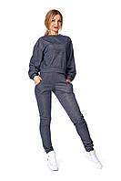 Синий трикотажный спортивный костюм женский, фото 1