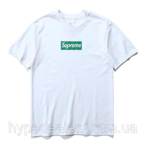 e74893ce1000d Футболка Supreme белая с зеленым логотипом, унисекс (мужская, женская,  детская)