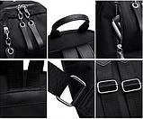 Рюкзак жіночий нейлон з ланцюгами сірий, фото 6