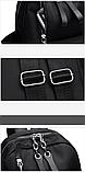 Рюкзак жіночий нейлон з ланцюгами сірий, фото 7