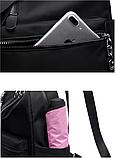Рюкзак жіночий нейлон з ланцюгами сірий, фото 8