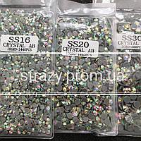 Набор термо-страз ss16, ss20, ss30 Crystal AB Premium Hong Kong